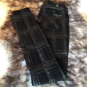 New 7 For All Mankind Black Check Stretchy Jeans